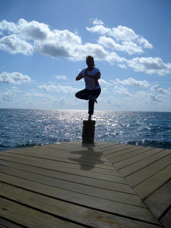 Yoga classes on the pier at Ceiba del Mar