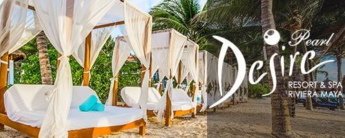sandy white beach and beachbeds at Desire Pearl